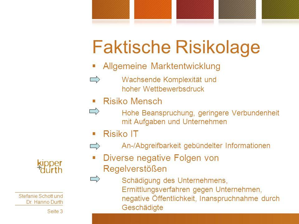 Faktische Risikolage  Allgemeine Marktentwicklung Wachsende Komplexität und hoher Wettbewerbsdruck  Risiko Mensch Hohe Beanspruchung, geringere Verb