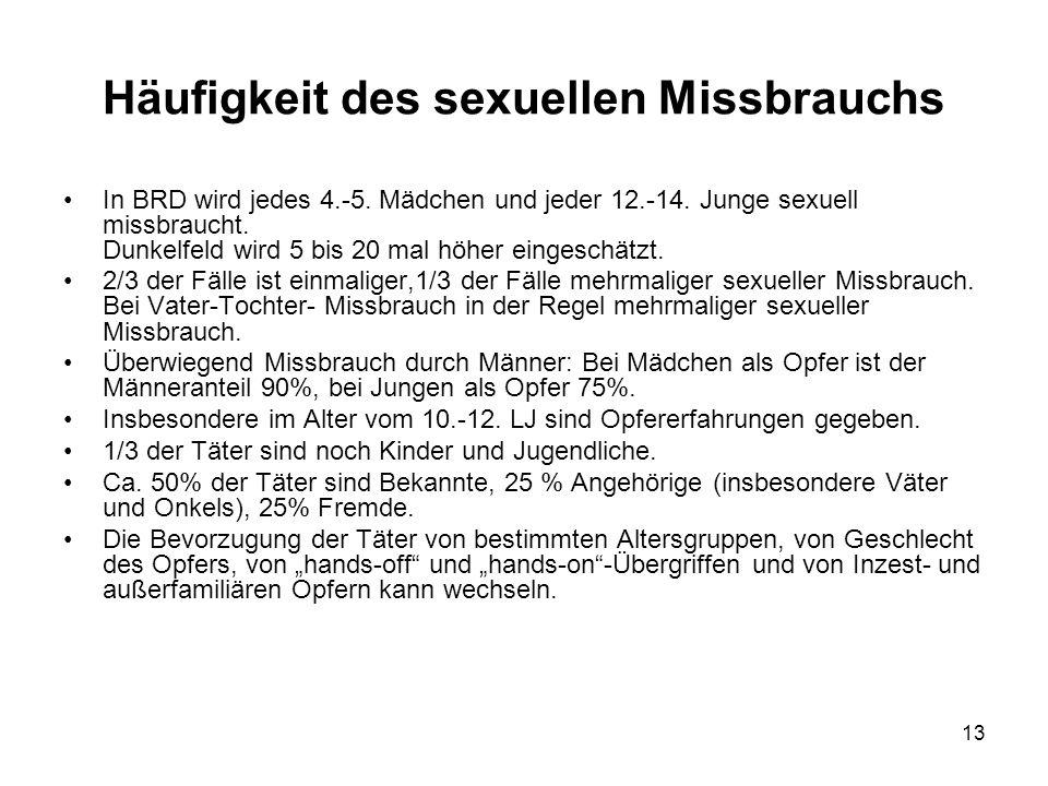 13 Häufigkeit des sexuellen Missbrauchs In BRD wird jedes 4.-5. Mädchen und jeder 12.-14. Junge sexuell missbraucht. Dunkelfeld wird 5 bis 20 mal höhe