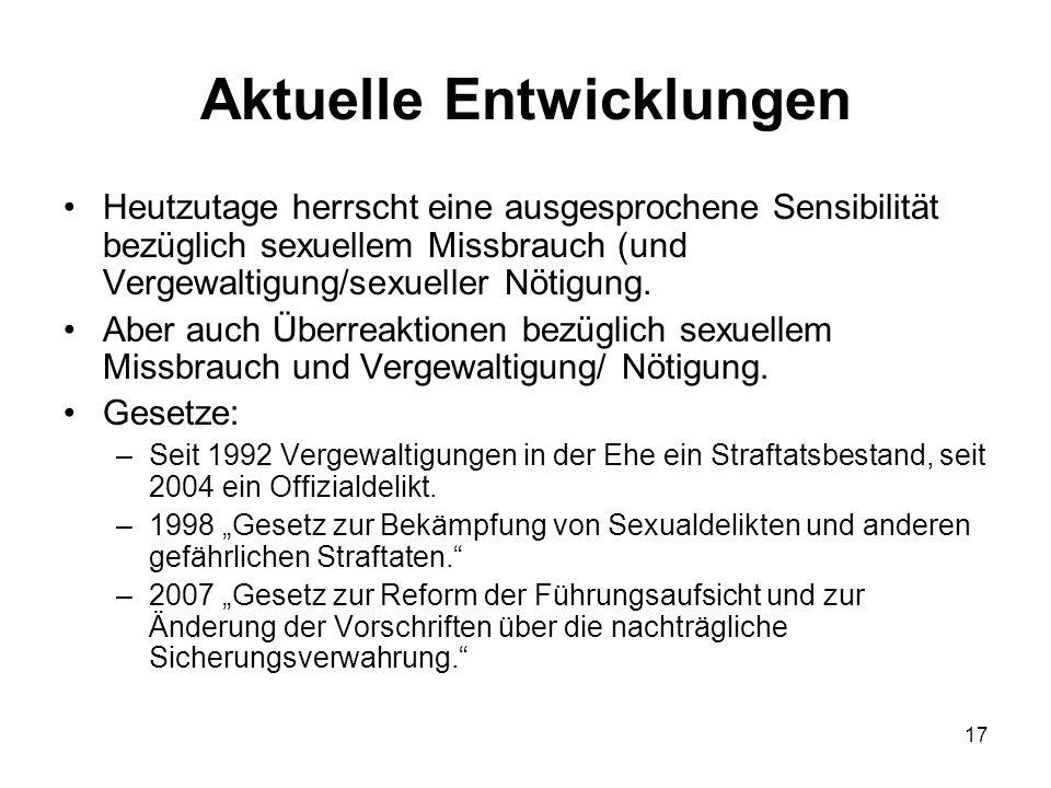 17 Aktuelle Entwicklungen Heutzutage herrscht eine ausgesprochene Sensibilität bezüglich sexuellem Missbrauch (und Vergewaltigung/sexueller Nötigung.