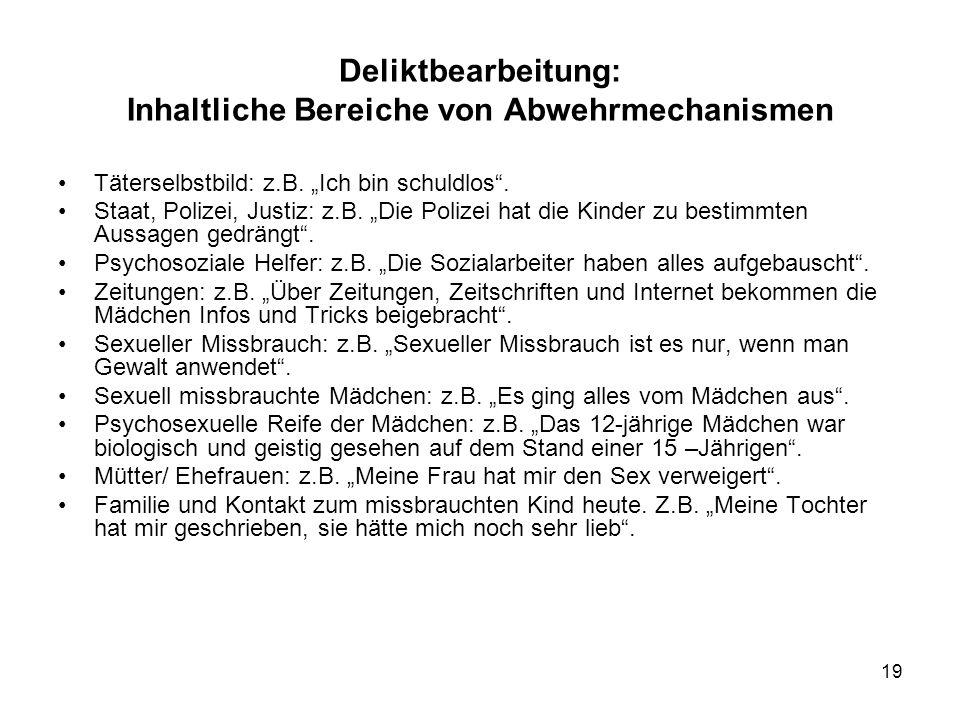 """19 Deliktbearbeitung: Inhaltliche Bereiche von Abwehrmechanismen Täterselbstbild: z.B. """"Ich bin schuldlos"""". Staat, Polizei, Justiz: z.B. """"Die Polizei"""