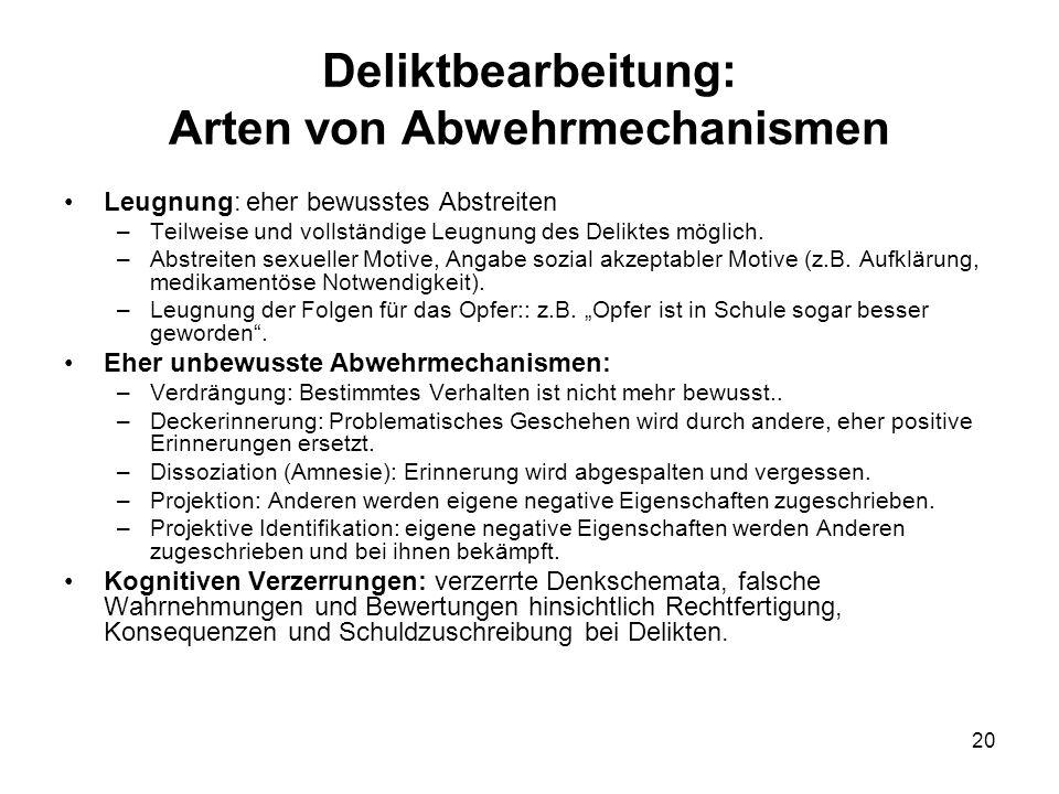 20 Deliktbearbeitung: Arten von Abwehrmechanismen Leugnung: eher bewusstes Abstreiten –Teilweise und vollständige Leugnung des Deliktes möglich.