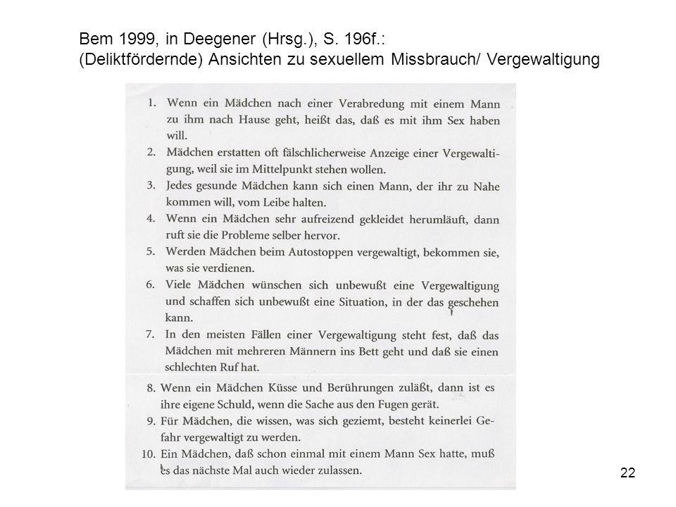 22 Bem 1999, in Deegener (Hrsg.), S. 196f.: (Deliktfördernde) Ansichten zu sexuellem Missbrauch/ Vergewaltigung