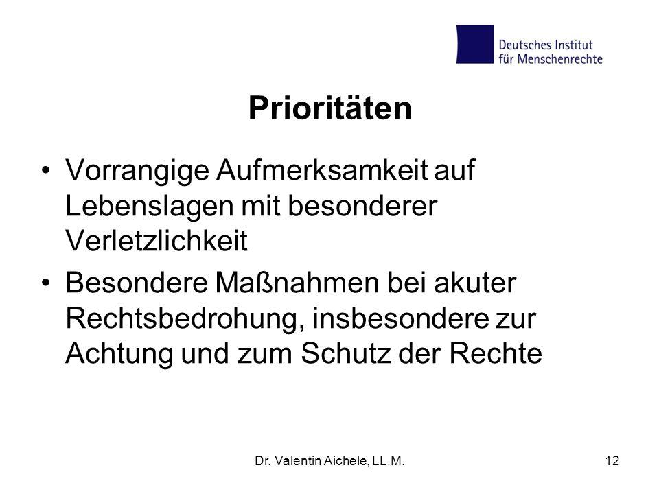 Prioritäten Vorrangige Aufmerksamkeit auf Lebenslagen mit besonderer Verletzlichkeit Besondere Maßnahmen bei akuter Rechtsbedrohung, insbesondere zur