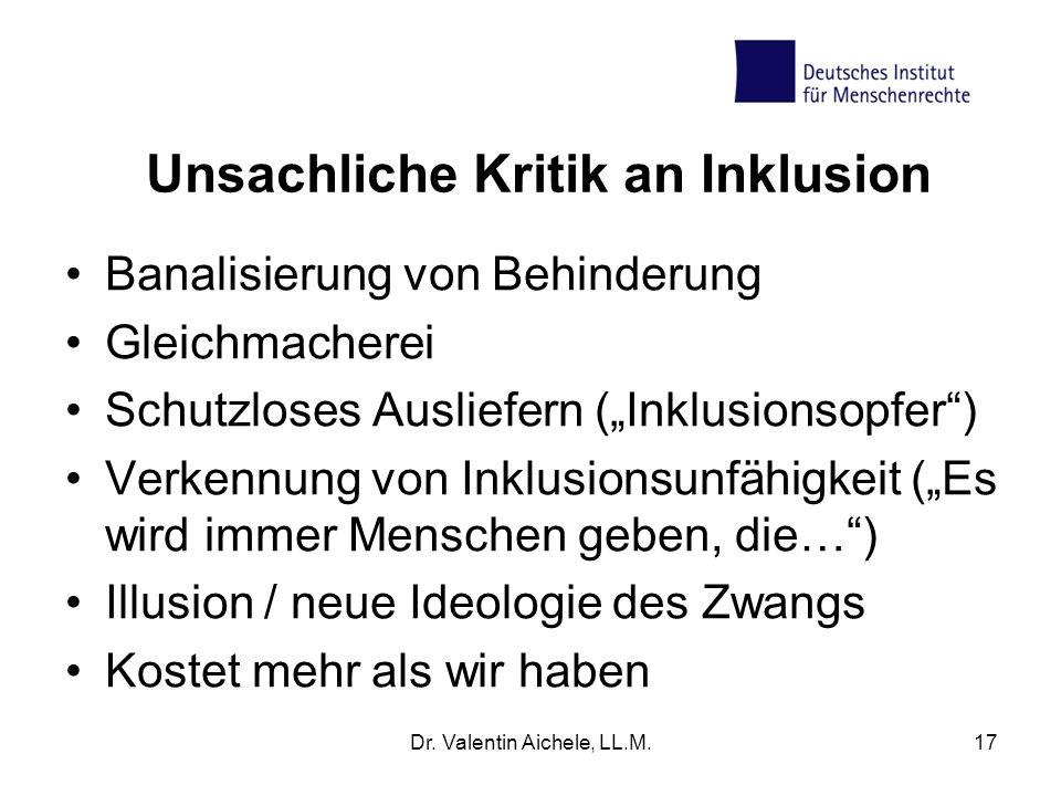"""Unsachliche Kritik an Inklusion Banalisierung von Behinderung Gleichmacherei Schutzloses Ausliefern (""""Inklusionsopfer"""") Verkennung von Inklusionsunfäh"""