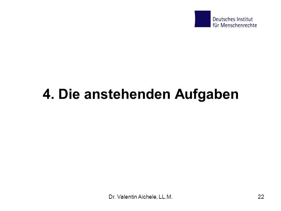 4. Die anstehenden Aufgaben Dr. Valentin Aichele, LL.M.22