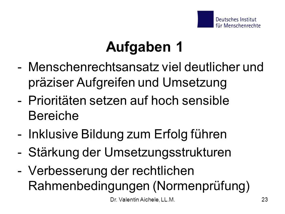 Aufgaben 1 -Menschenrechtsansatz viel deutlicher und präziser Aufgreifen und Umsetzung -Prioritäten setzen auf hoch sensible Bereiche -Inklusive Bildu