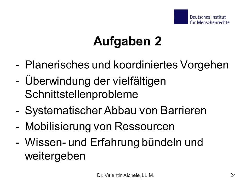 Aufgaben 2 -Planerisches und koordiniertes Vorgehen -Überwindung der vielfältigen Schnittstellenprobleme -Systematischer Abbau von Barrieren -Mobilisi