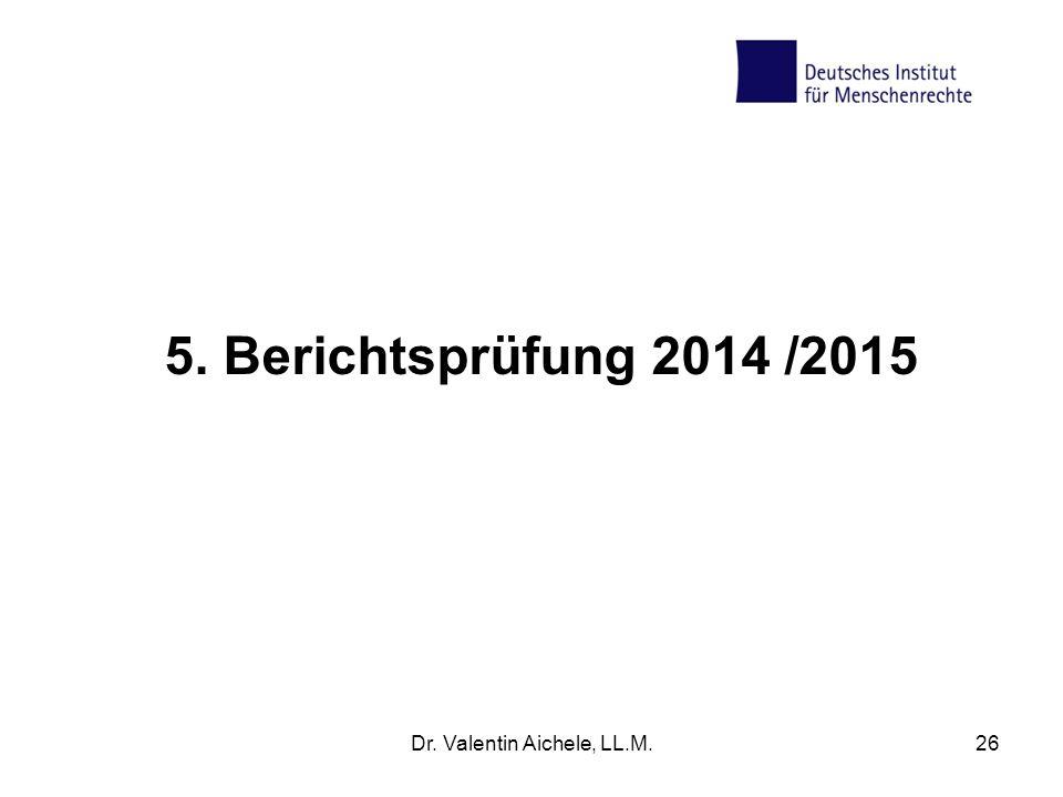 5. Berichtsprüfung 2014 /2015 Dr. Valentin Aichele, LL.M.26