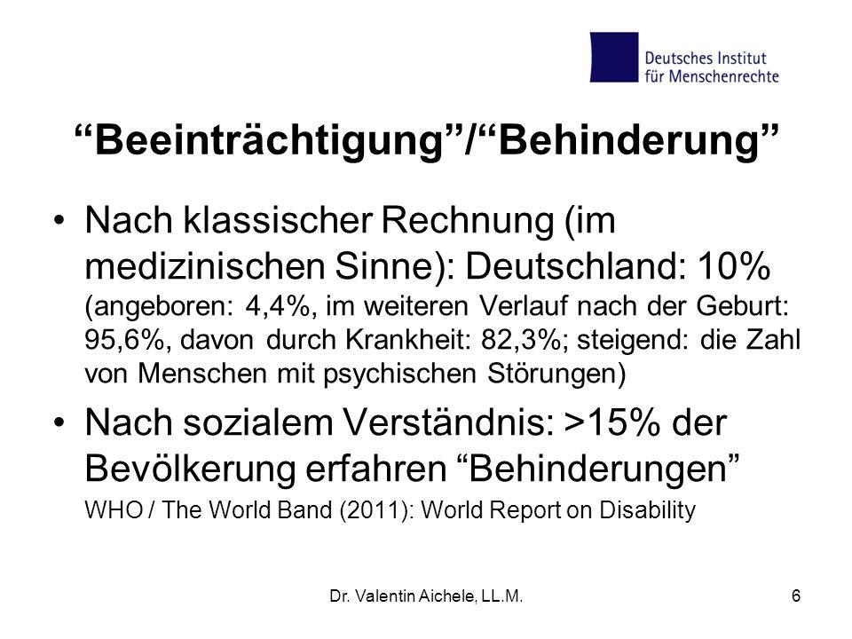 """""""Beeinträchtigung""""/""""Behinderung"""" Nach klassischer Rechnung (im medizinischen Sinne): Deutschland: 10% (angeboren: 4,4%, im weiteren Verlauf nach der G"""