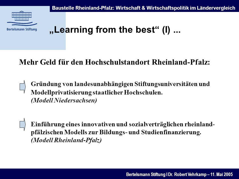 Baustelle Rheinland-Pfalz: Wirtschaft & Wirtschaftspolitik im Ländervergleich Bertelsmann Stiftung l Dr.