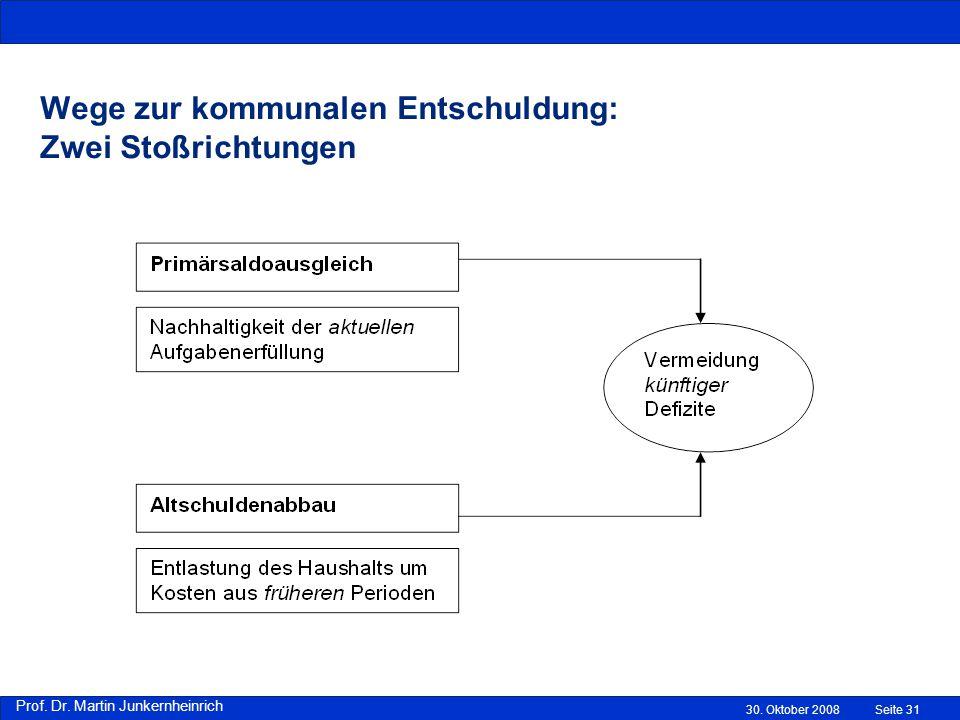 Prof.Dr. Martin Junkernheinrich Wege zur kommunalen Entschuldung: Zwei Stoßrichtungen 30.