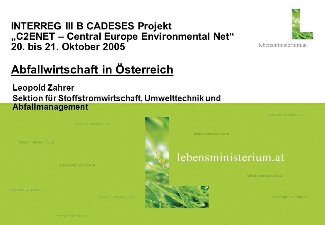 """Seite 113.12.2014 INTERREG III B CADESES Projekt """"C2ENET – Central Europe Environmental Net"""" 20. bis 21. Oktober 2005 Abfallwirtschaft in Österreich L"""