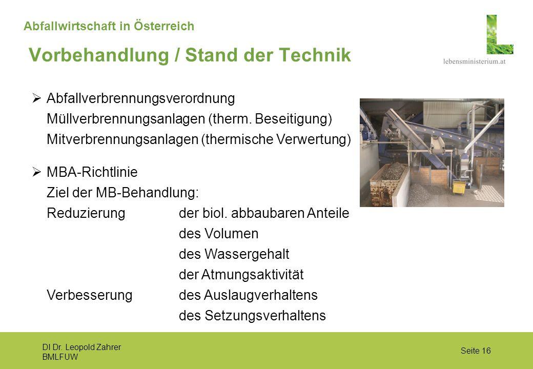 DI Dr. Leopold Zahrer BMLFUW Seite 16 Abfallwirtschaft in Österreich  MBA-Richtlinie Ziel der MB-Behandlung: Reduzierung der biol. abbaubaren Anteile
