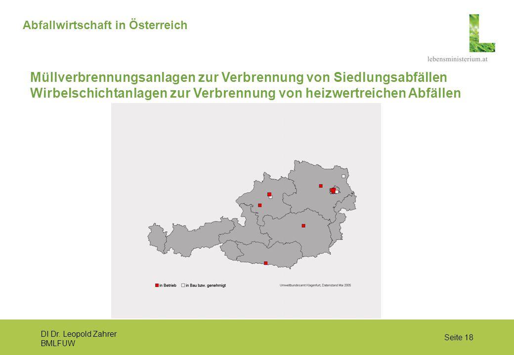DI Dr. Leopold Zahrer BMLFUW Seite 18 Abfallwirtschaft in Österreich Müllverbrennungsanlagen zur Verbrennung von Siedlungsabfällen Wirbelschichtanlage
