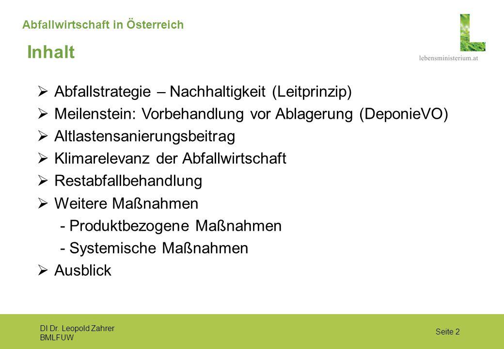 DI Dr. Leopold Zahrer BMLFUW Seite 2 Abfallwirtschaft in Österreich  Abfallstrategie – Nachhaltigkeit (Leitprinzip)  Meilenstein: Vorbehandlung vor