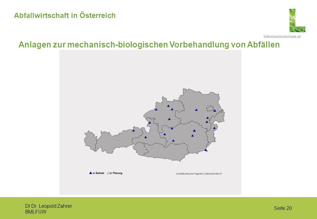 DI Dr. Leopold Zahrer BMLFUW Seite 20 Abfallwirtschaft in Österreich Anlagen zur mechanisch-biologischen Vorbehandlung von Abfällen