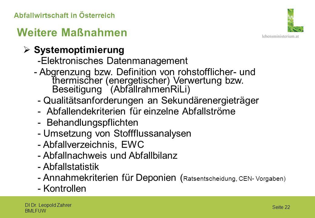 DI Dr. Leopold Zahrer BMLFUW Seite 22 Abfallwirtschaft in Österreich Weitere Maßnahmen  Systemoptimierung -Elektronisches Datenmanagement - Abgrenzun