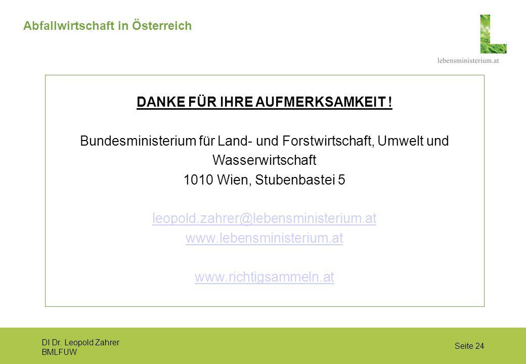 DI Dr. Leopold Zahrer BMLFUW Seite 24 Abfallwirtschaft in Österreich DANKE FÜR IHRE AUFMERKSAMKEIT ! Bundesministerium für Land- und Forstwirtschaft,