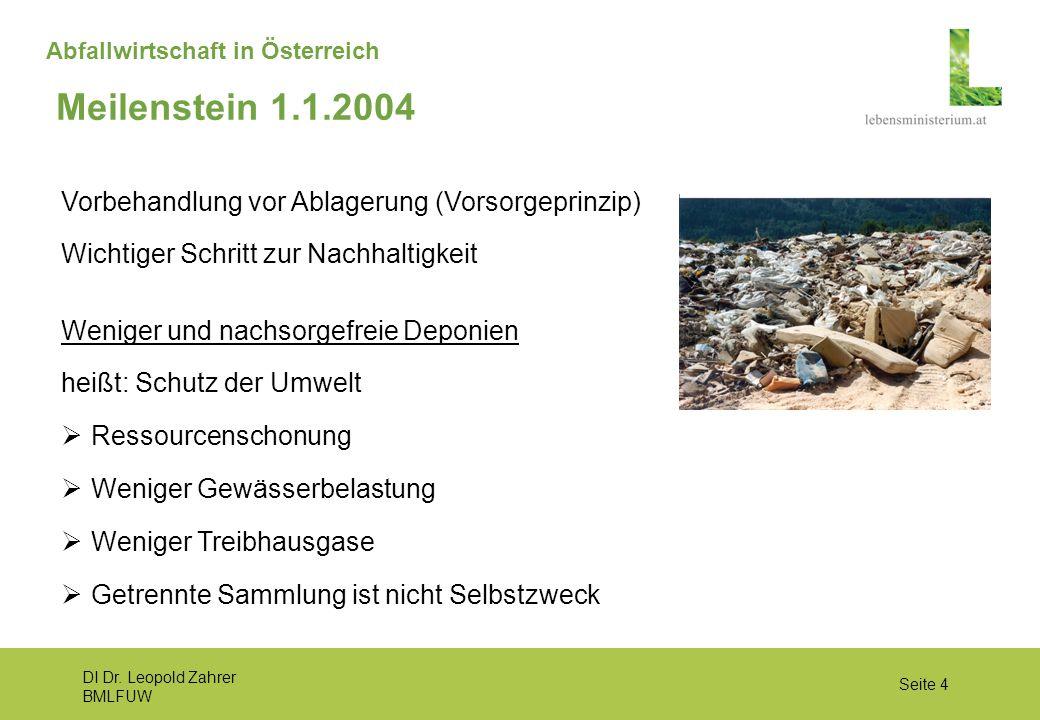 DI Dr. Leopold Zahrer BMLFUW Seite 4 Abfallwirtschaft in Österreich Vorbehandlung vor Ablagerung (Vorsorgeprinzip) Wichtiger Schritt zur Nachhaltigkei
