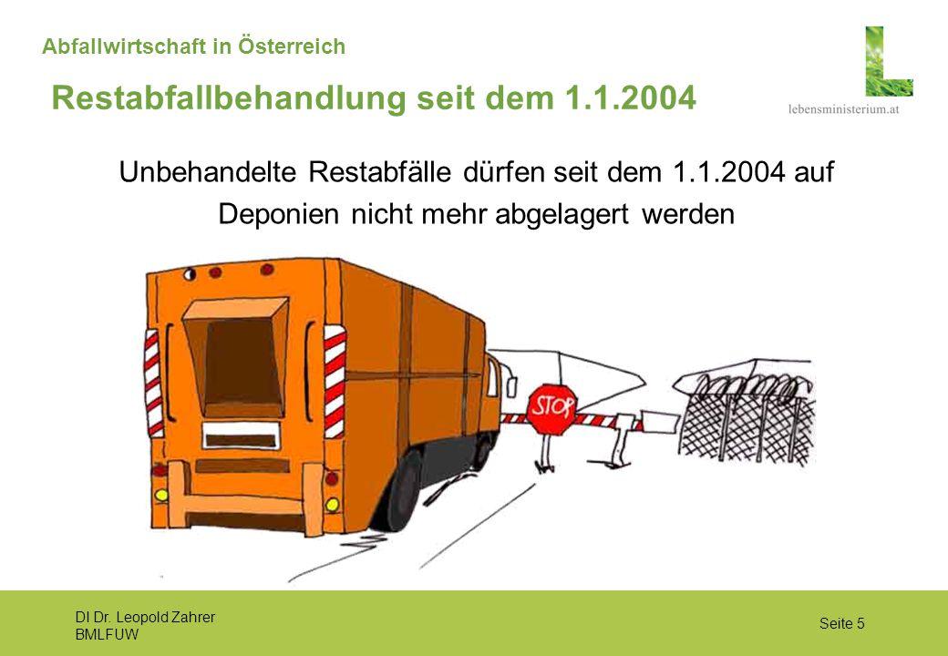 DI Dr. Leopold Zahrer BMLFUW Seite 5 Abfallwirtschaft in Österreich Unbehandelte Restabfälle dürfen seit dem 1.1.2004 auf Deponien nicht mehr abgelage
