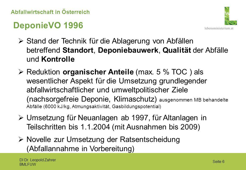 DI Dr. Leopold Zahrer BMLFUW Seite 6 Abfallwirtschaft in Österreich  Stand der Technik für die Ablagerung von Abfällen betreffend Standort, Deponieba