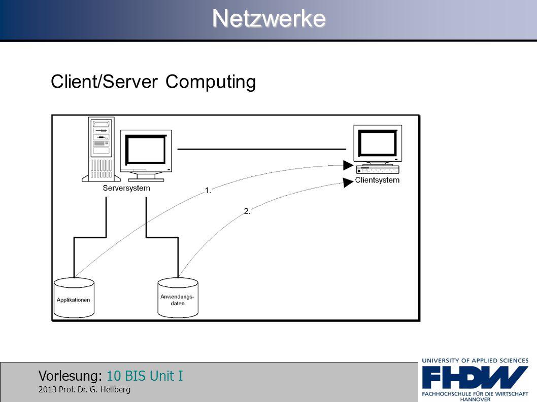 Vorlesung: 10 BIS Unit I 2013 Prof. Dr. G. HellbergNetzwerke Client/Server Computing