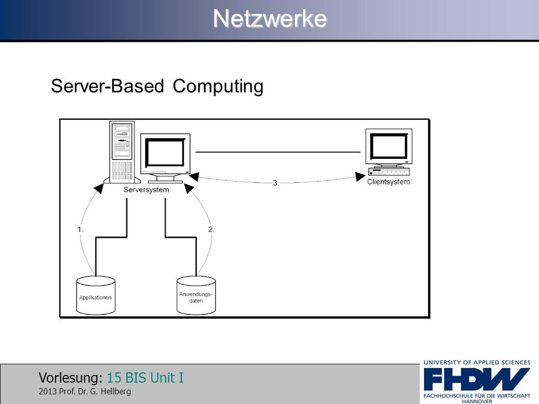 Vorlesung: 15 BIS Unit I 2013 Prof. Dr. G. HellbergNetzwerke Server-Based Computing