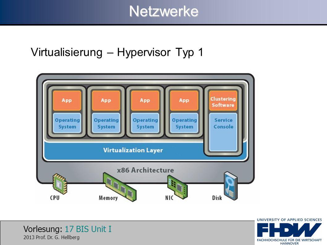 Vorlesung: 17 BIS Unit I 2013 Prof. Dr. G. HellbergNetzwerke Virtualisierung – Hypervisor Typ 1