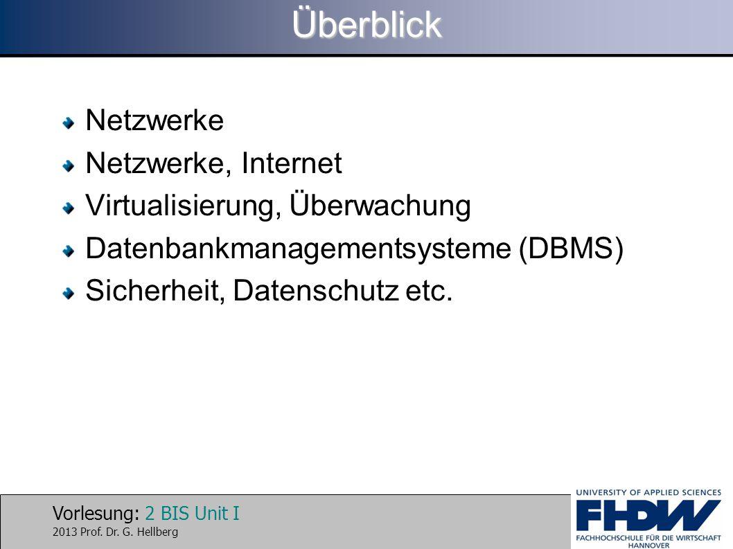 Vorlesung: 2 BIS Unit I 2013 Prof. Dr. G. HellbergÜberblick Netzwerke Netzwerke, Internet Virtualisierung, Überwachung Datenbankmanagementsysteme (DBM