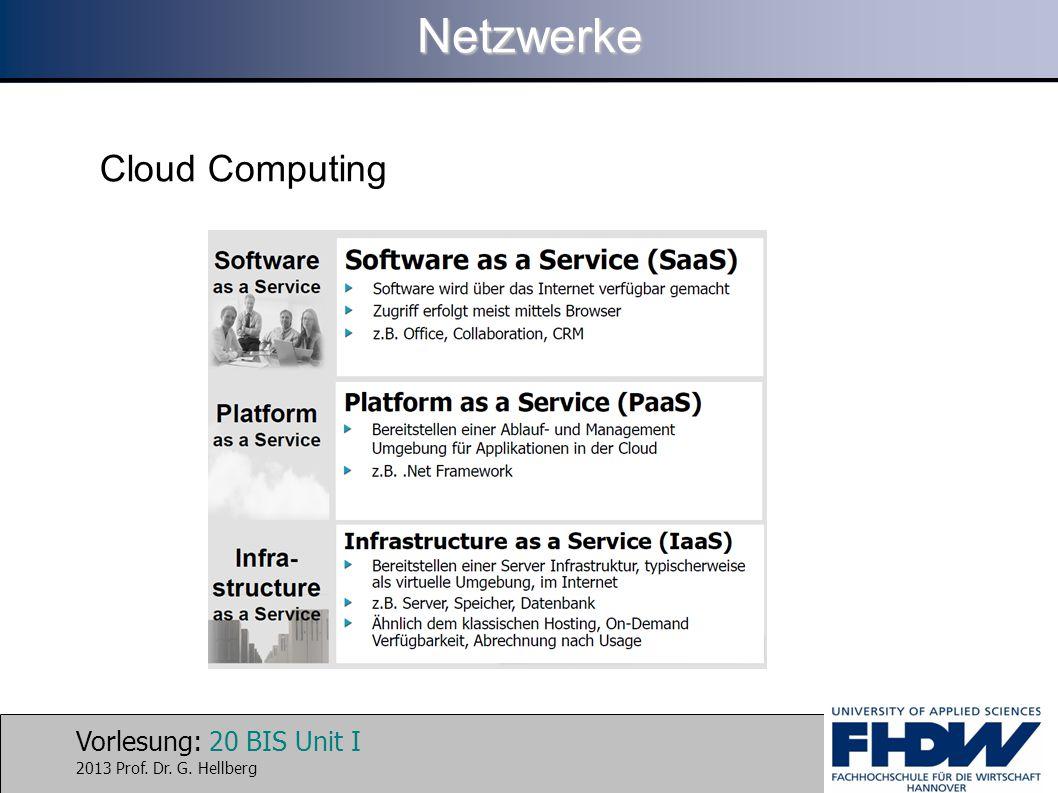 Vorlesung: 20 BIS Unit I 2013 Prof. Dr. G. HellbergNetzwerke Cloud Computing