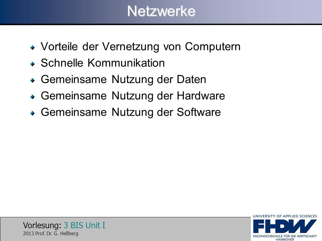 Vorlesung: 3 BIS Unit I 2013 Prof. Dr. G. HellbergNetzwerke Vorteile der Vernetzung von Computern Schnelle Kommunikation Gemeinsame Nutzung der Daten