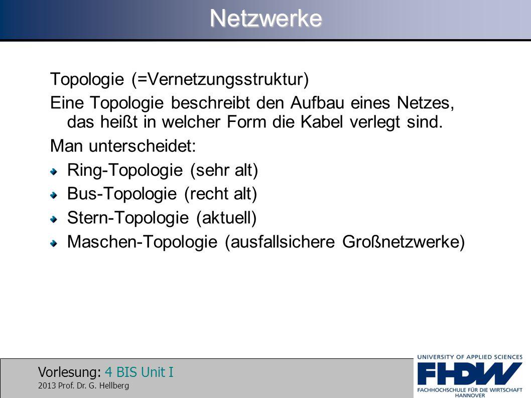 Vorlesung: 4 BIS Unit I 2013 Prof. Dr. G. HellbergNetzwerke Topologie (=Vernetzungsstruktur) Eine Topologie beschreibt den Aufbau eines Netzes, das he
