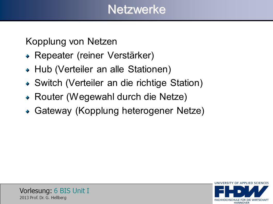 Vorlesung: 6 BIS Unit I 2013 Prof. Dr. G. HellbergNetzwerke Kopplung von Netzen Repeater (reiner Verstärker) Hub (Verteiler an alle Stationen) Switch
