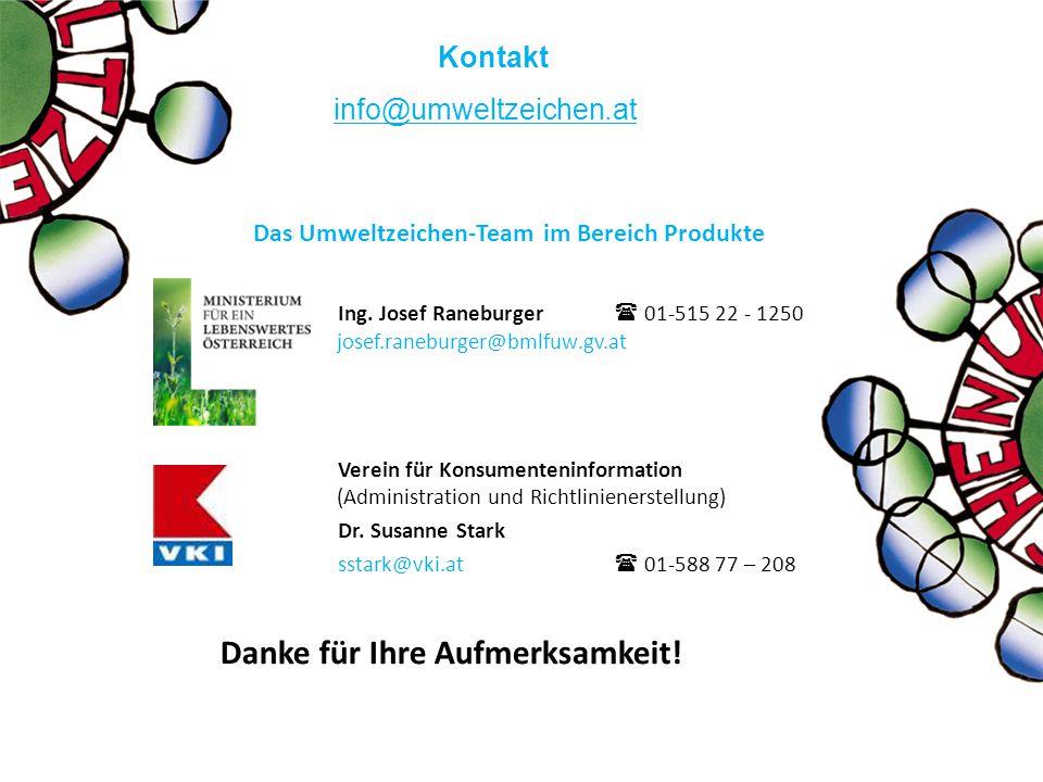 Das Umweltzeichen-Team im Bereich Produkte Ing. Josef Raneburger  01-515 22 - 1250 josef.raneburger@bmlfuw.gv.at Verein für Konsumenteninformation (A