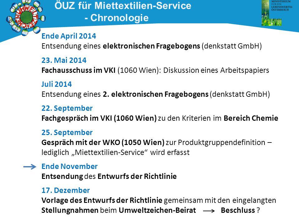 Ende April 2014 Entsendung eines elektronischen Fragebogens (denkstatt GmbH) 23. Mai 2014 Fachausschuss im VKI (1060 Wien): Diskussion eines Arbeitspa