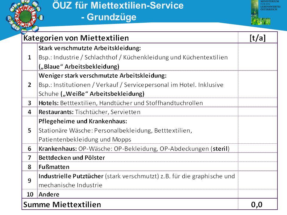 ÖUZ für Miettextilien-Service - Textilien