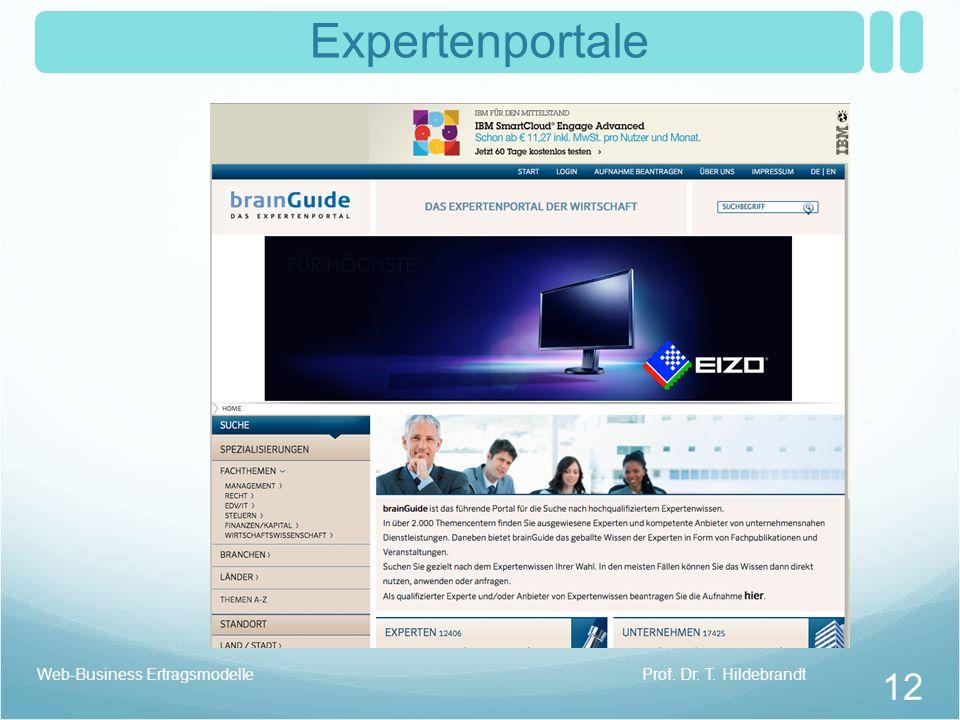 Expertenportale Prof. Dr. T. HildebrandtWeb-Business Ertragsmodelle 12