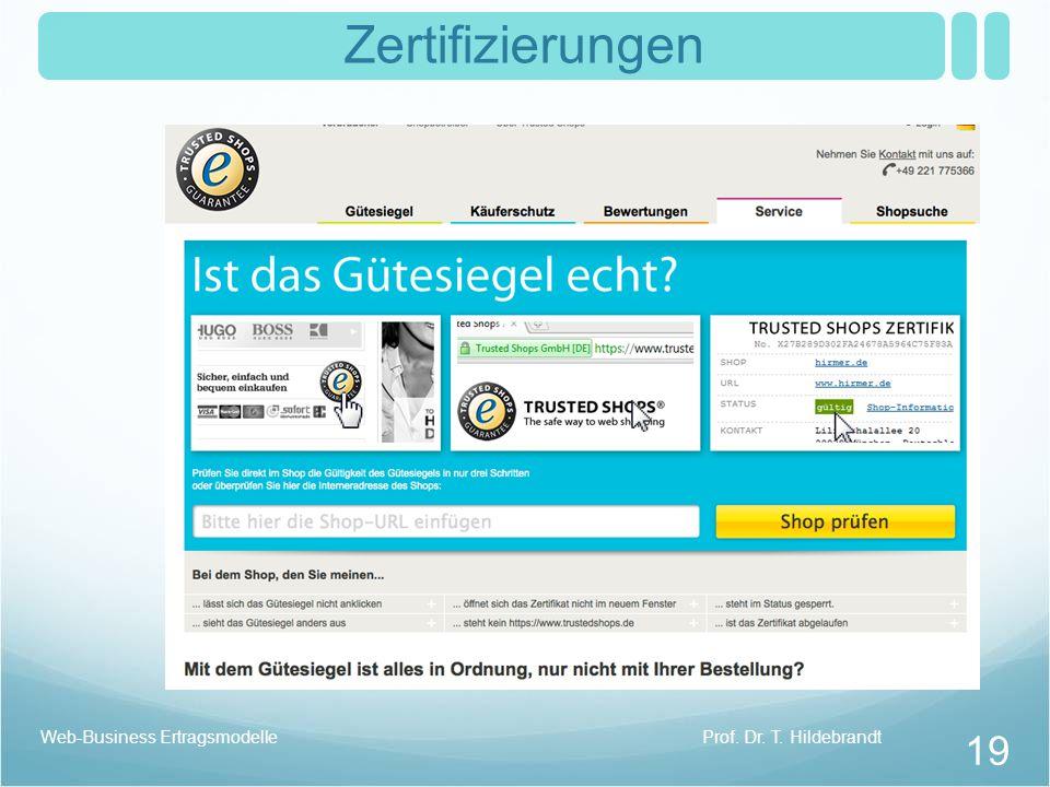 Zertifizierungen Prof. Dr. T. HildebrandtWeb-Business Ertragsmodelle 19
