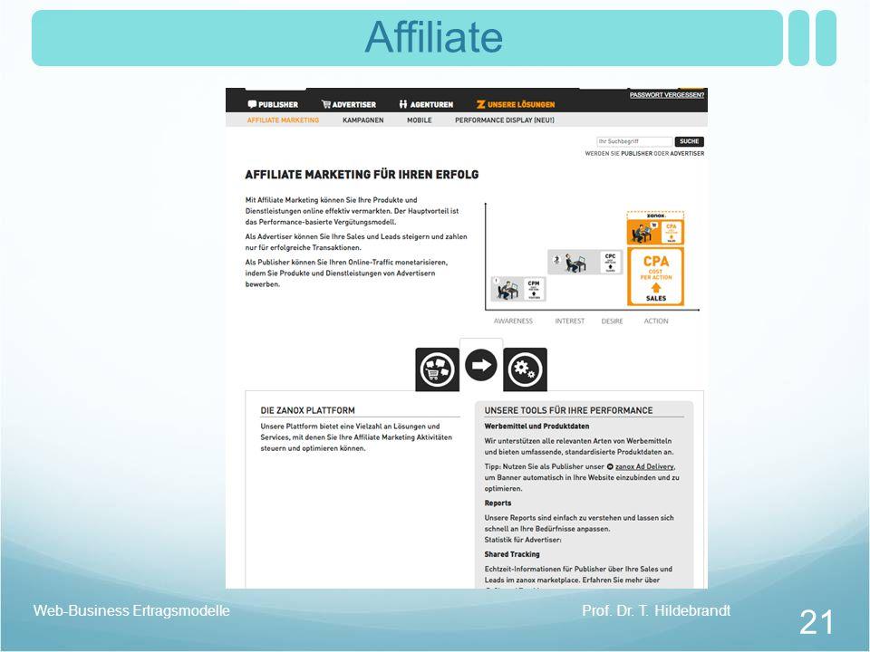 Affiliate Prof. Dr. T. HildebrandtWeb-Business Ertragsmodelle 21