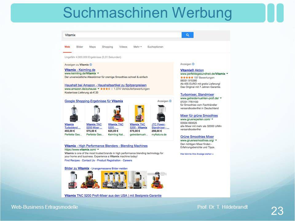 Suchmaschinen Werbung Prof. Dr. T. HildebrandtWeb-Business Ertragsmodelle 23