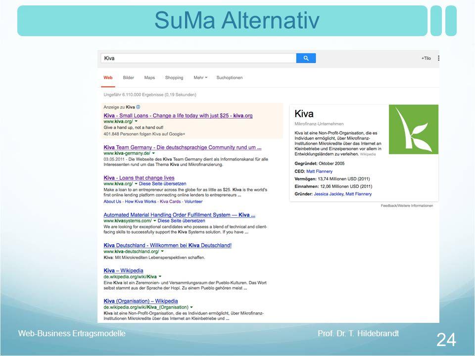 SuMa Alternativ Prof. Dr. T. HildebrandtWeb-Business Ertragsmodelle 24