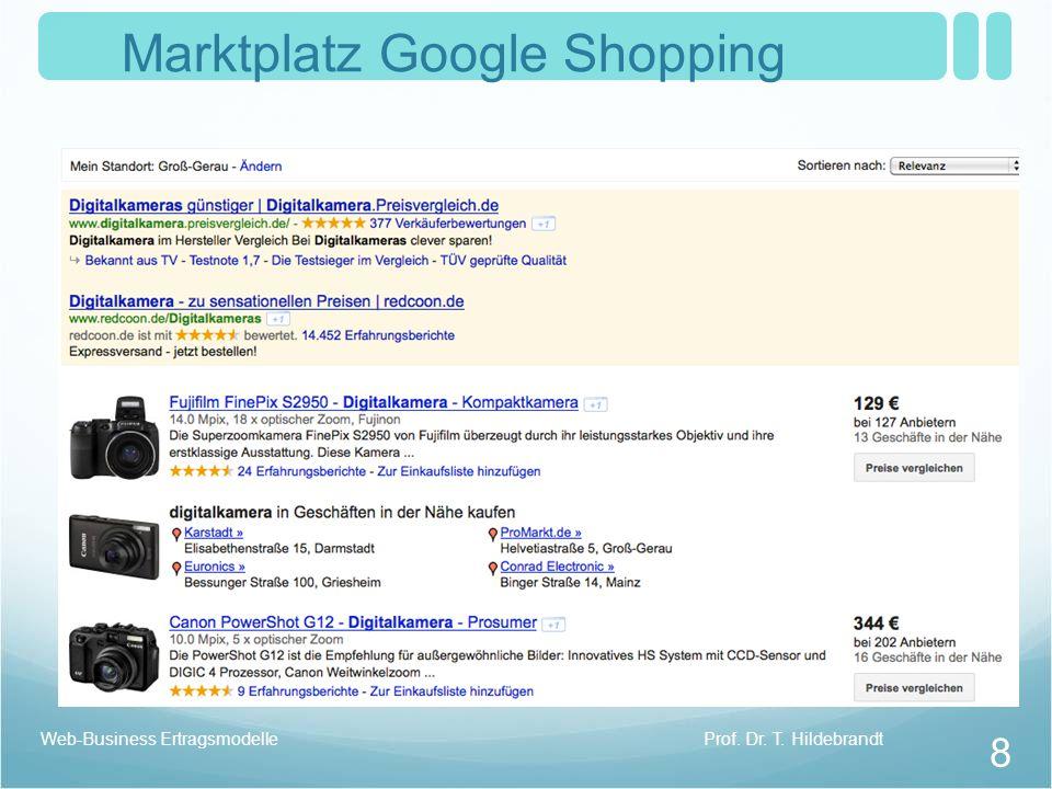 Marktplatz Google Shopping Prof. Dr. T. Hildebrandt 8 Web-Business Ertragsmodelle