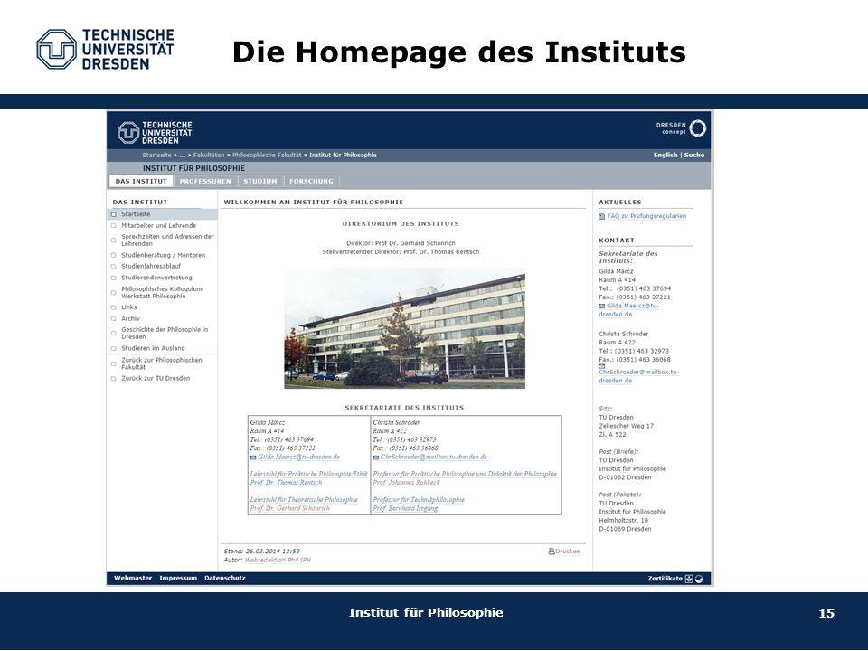 15 Institut für Philosophie Die Homepage des Instituts