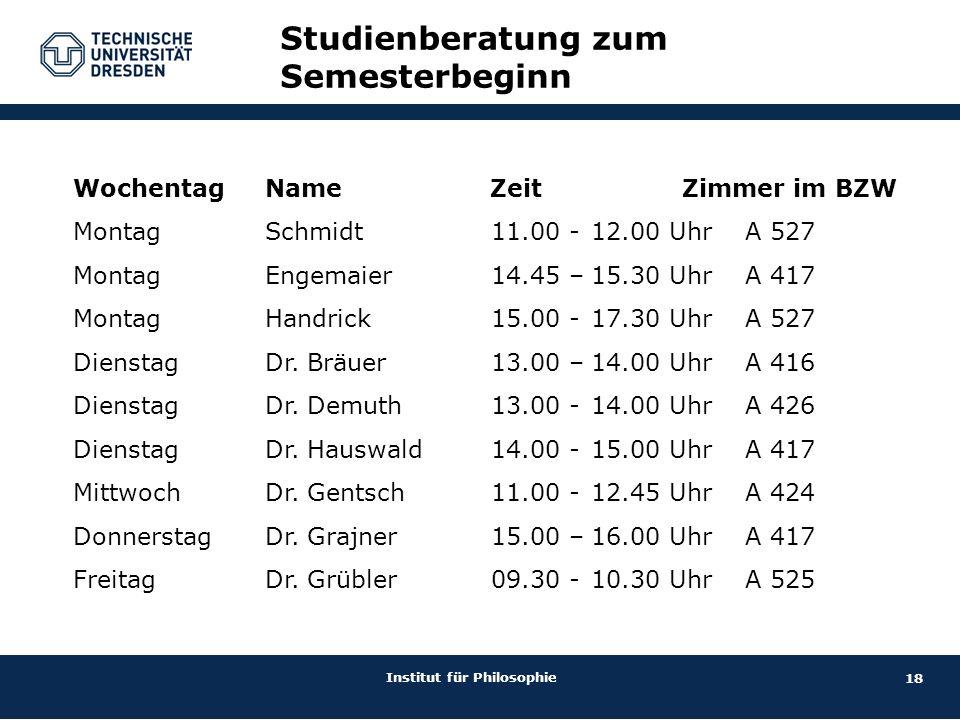 18 Institut für Philosophie Studienberatung zum Semesterbeginn Wochentag Name Zeit Zimmer im BZW MontagSchmidt 11.00 -12.00 Uhr A 527 MontagEngemaier