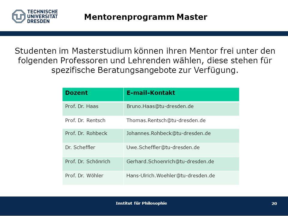 20 Institut für Philosophie Mentorenprogramm Master DozentE-mail-Kontakt Prof. Dr. HaasBruno.Haas@tu-dresden.de Prof. Dr. RentschThomas.Rentsch@tu-dre