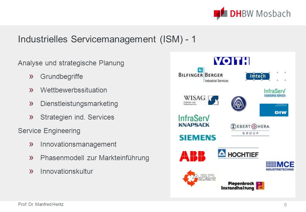 6 Prof. Dr. Manfred Hentz Industrielles Servicemanagement (ISM) - 1 Analyse und strategische Planung » Grundbegriffe » Wettbewerbssituation » Dienstle
