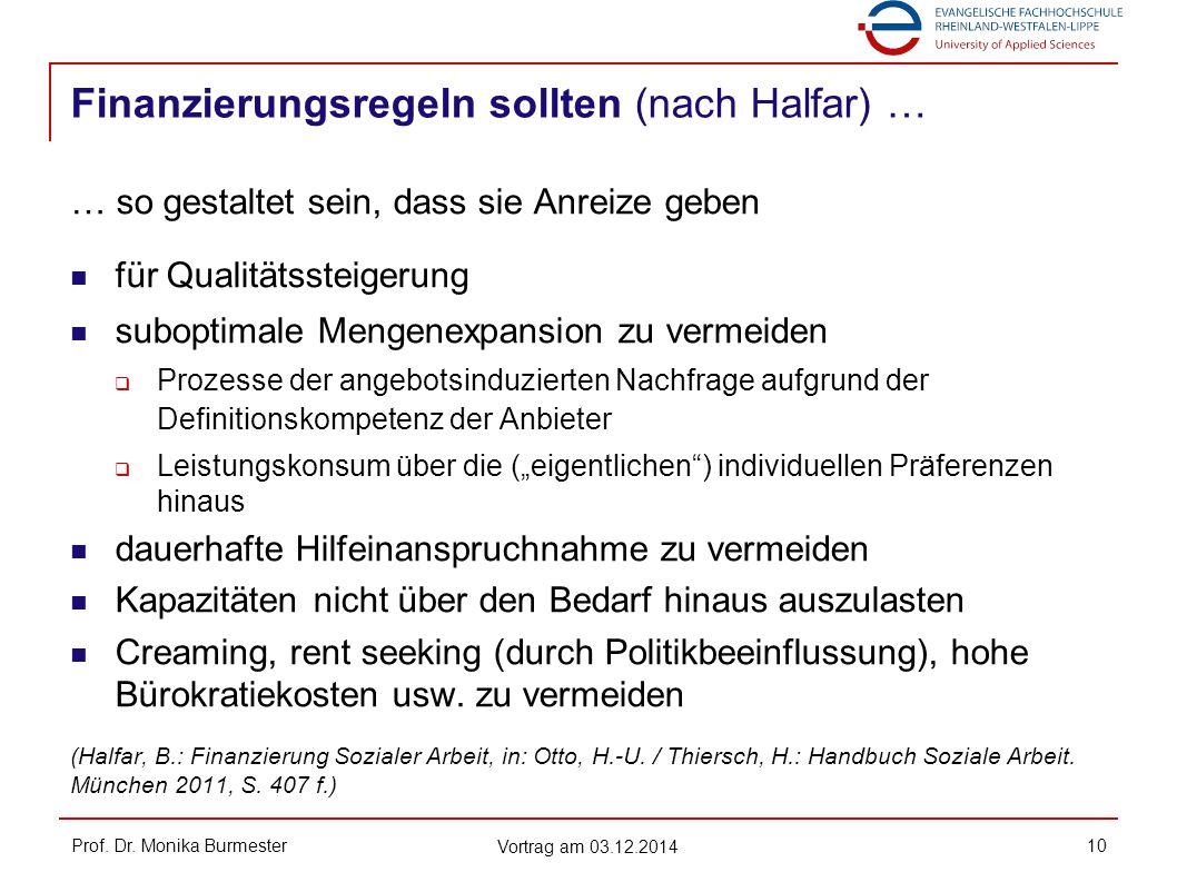 Finanzierungsregeln sollten (nach Halfar) … Prof. Dr. Monika Burmester Vortrag am 03.12.2014 10 … so gestaltet sein, dass sie Anreize geben für Qualit