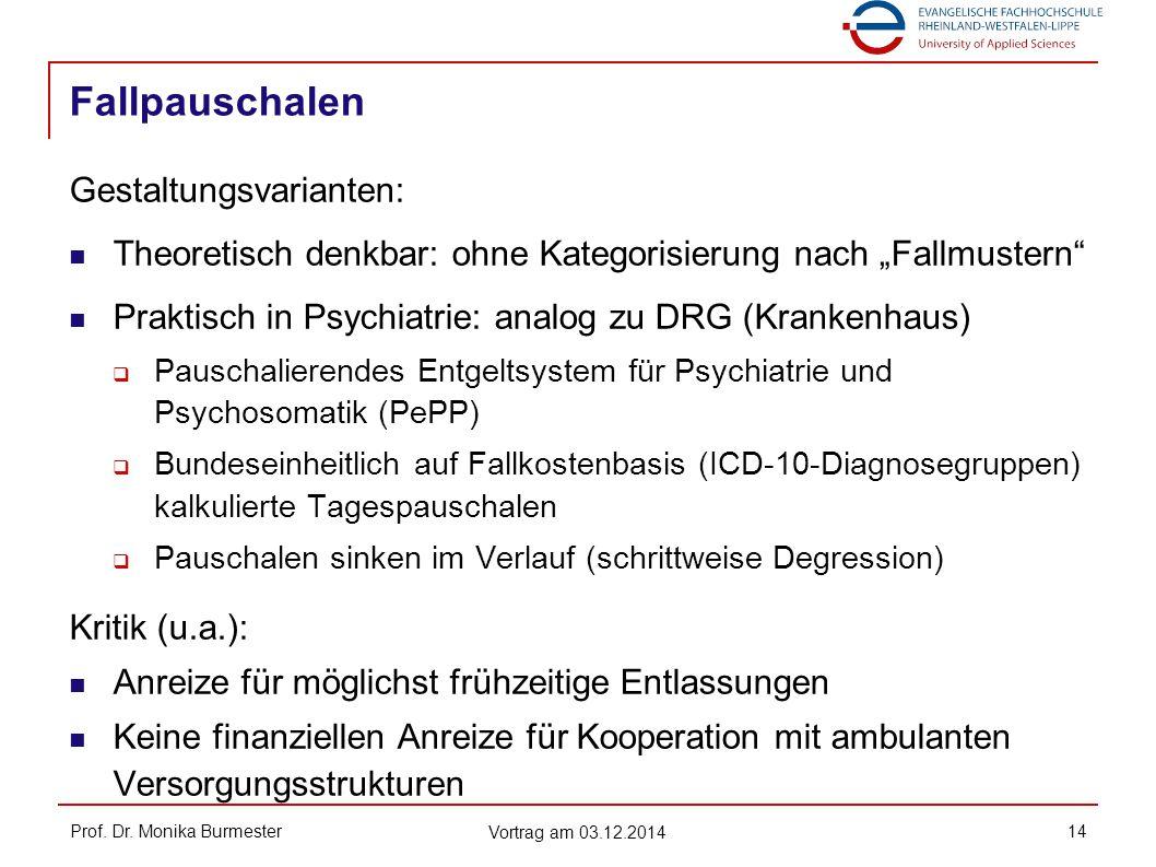 "Fallpauschalen Prof. Dr. Monika Burmester Vortrag am 03.12.2014 14 Gestaltungsvarianten: Theoretisch denkbar: ohne Kategorisierung nach ""Fallmustern"""