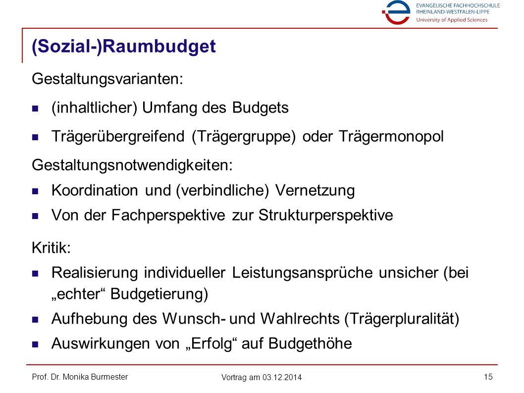 (Sozial-)Raumbudget Prof. Dr. Monika Burmester Vortrag am 03.12.2014 15 Gestaltungsvarianten: (inhaltlicher) Umfang des Budgets Trägerübergreifend (Tr