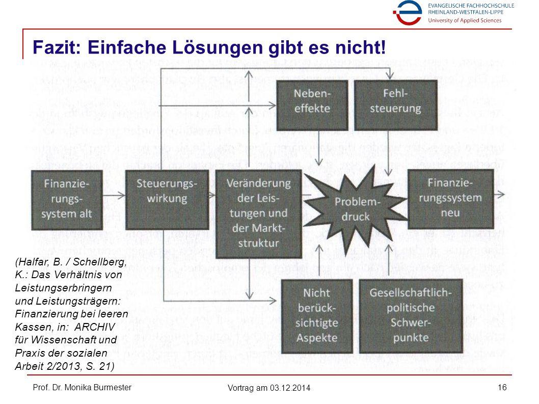 Fazit: Einfache Lösungen gibt es nicht! Prof. Dr. Monika Burmester Vortrag am 03.12.2014 16 (Halfar, B. / Schellberg, K.: Das Verhältnis von Leistungs